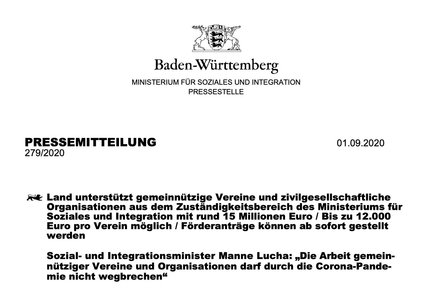Vereine erhalten künftig finanzielle Unterstützung durch das Land Baden-Württemberg.